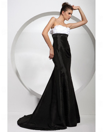Custom Mermaid/ Trumpet Strapless Satin Prom Evening Dress for Women