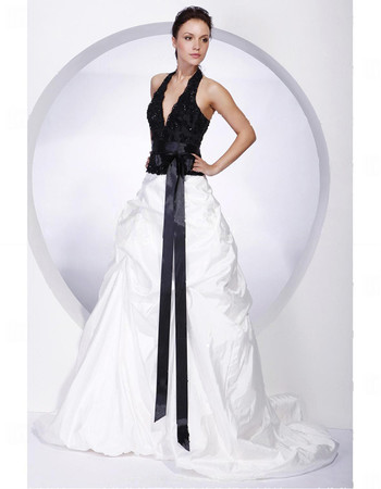 Ball Gown Halter Deep V Floor Length Prom Evening Dress for Women
