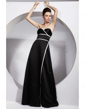 Modern A-Line Sweetheart Black Satin Prom Evening Dress for Women