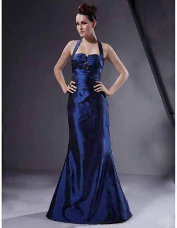 Vintage Mermaid Halter Floor Length Prom Evening Dress for Women