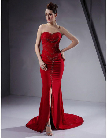 Classic Sheath/ Column Sweetheart Prom Evening Dress with Split for Women