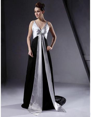 Retro A-Line V-Neck Court Train Prom Evening Dress for Women