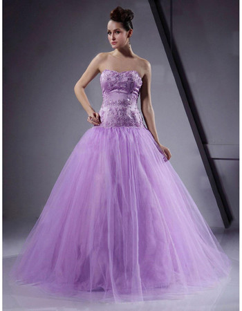 Classic Ball Gown Long Organza Prom Evening Dress for Women