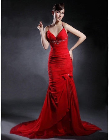 Classic Mermaid/ Trumpet Red Chiffon Prom Evening Dress for Women