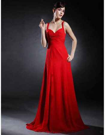 Elegant A-Line Sweetheart Floor Length Red Chiffon Prom Evening Dress for Women