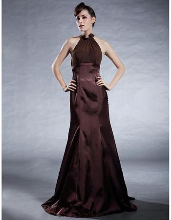 Vintage Mermaid/ Trumpet Halter Elastic Satin Prom Evening Dress for Women
