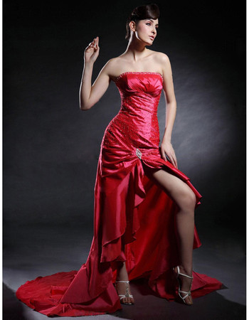 Modern Sheath Strapless Asymmetric Taffeta Prom Evening Dress for Women