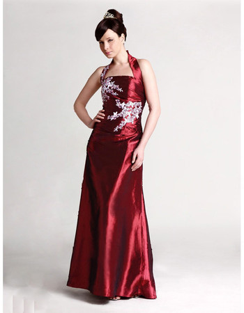 Classic A-Line Halter Floor Length Taffeta Prom Evening Dress for Women