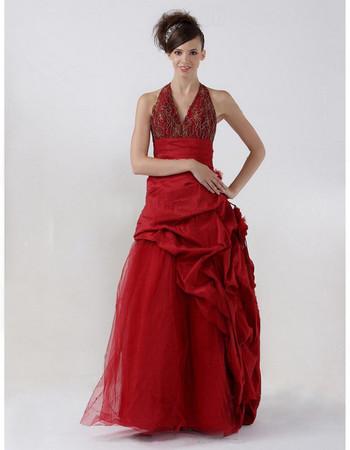 Retro A-Line Floor Length Taffeta Halter Prom Evening Dress for Women