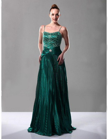 Vintage A-Line Taffeta Spaghetti Straps Prom Evening Dress for Women