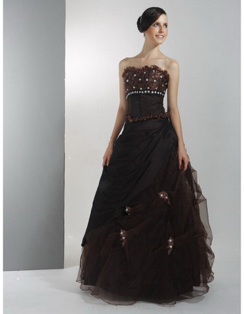 Vintage A-Line Strapless Nylon Taffeta Prom Evening Dress for Women