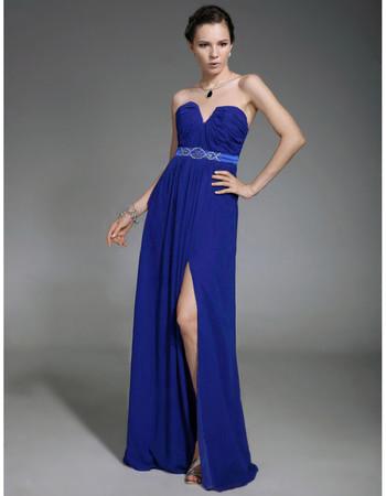 A-Line Sweetheart Sweep Train Blue Chiffon Evening Dress with Split
