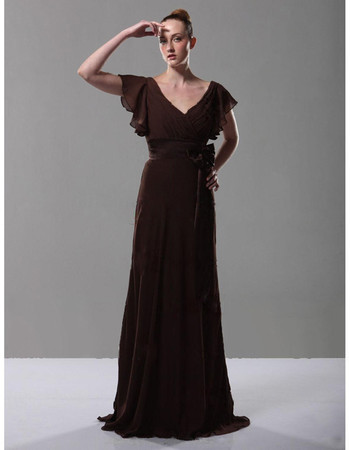 Elegant Retro A-Line V-Neck Floor Length Chiffon Prom Evening Dress