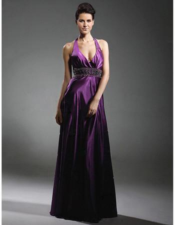 Designer Sexy A-Line Halter Elastic Purple Satin Prom Evening Dress