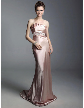 Designer Sheath Strapless Court Train Satin Prom Evening Dress