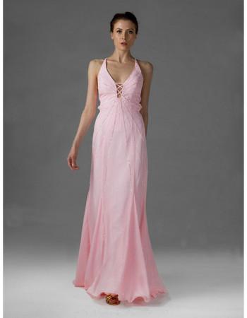 Affordable Chiffon V-Neck A-Line Floor Length Prom Evening Dress