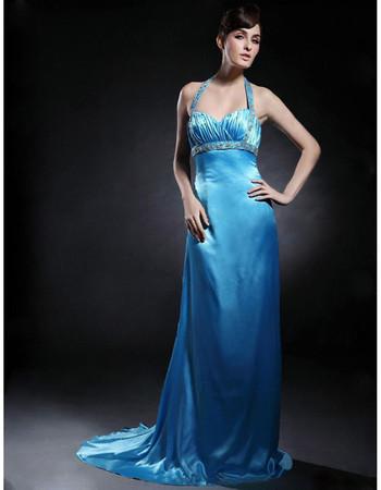 Sexy Empire Halter Satin Court Train Prom Evening Dress