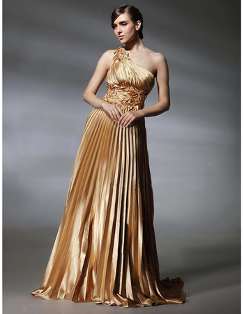 Classic A-Line One Shoulder Elastic Satin Prom Evening Dress