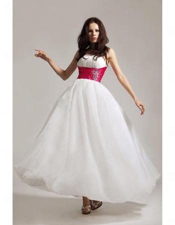 Designer A-Line Strapless White Chiffon Prom Evening Dress