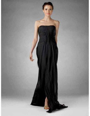 Sexy Column Strapless Floor Length Chiffon Prom Evening Dress