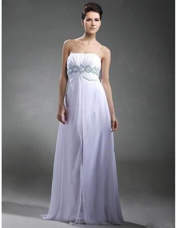 Empire Waist Strapless Floor Length Chiffon Prom Evening Dress for Women