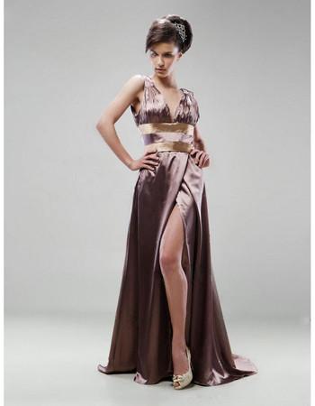 Women's Sexy V-Neck Floor Length Satin Prom Evening Dress with Split