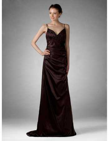 Vintage Spaghetti Straps Satin Prom Evening Dress for Women