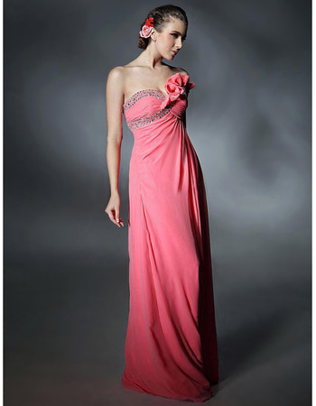 Elegant Sheath Sweetheart Chiffon Prom Evening Dress for Women