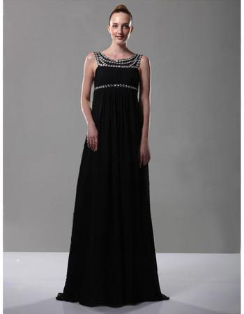 Empire Waist Scoop Chiffon Long Prom Evening Dress for Women