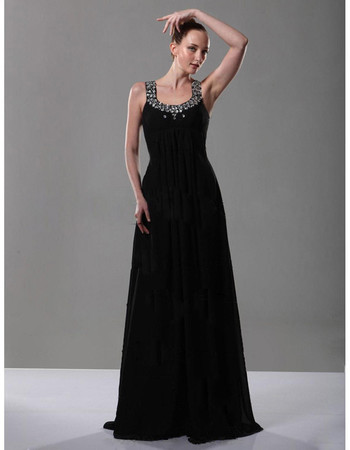 Affordable A-Line Scoop/ Round Black Chiffon Prom Evening Dress for Women