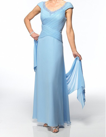 Custom A-Line V-Neck Floor Length Chiffon Mother of the Bride Dress