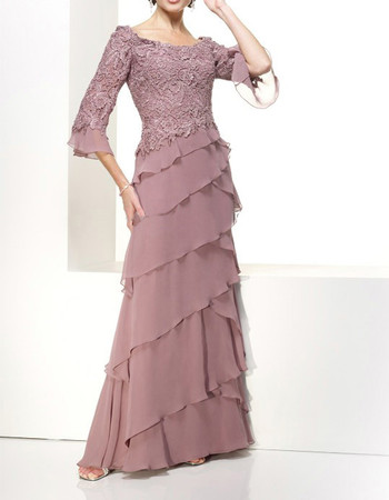 Classic A-Line Round Floor Length Chiffon Mother Dress with Sleeves
