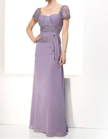 Elegant A-Line Short Sleeves Floor Length Chiffon Mother Dress