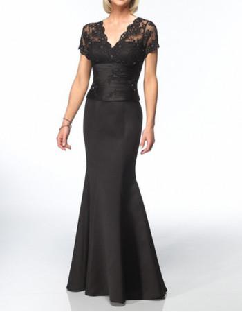 Mermaid V-Neck Short Sleeves Floor Length Satin Mother Dress