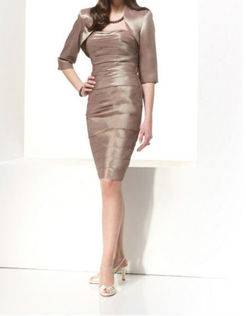Sheath Bodycon Strapless Knee Length Satin Mother Dress for Wedding