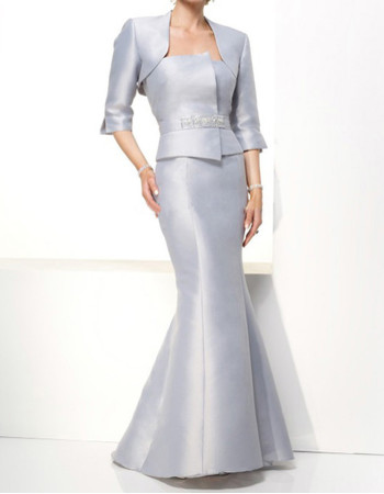Mermaid Strapless Floor Length Satin Mother Dress for Wedding