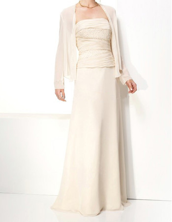 Elegant A-Line Strapless Floor Length Chiffon Mother Dress for Wedding