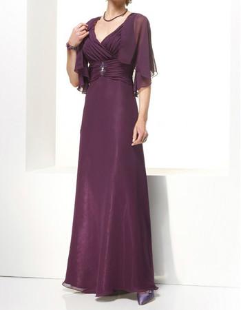 Designer A-Line V-Neck Floor Length Chiffon Mother of the Bride/ Groom Dress