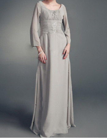 Modest Long Sleeves Floor Length Chiffon Mother of the Bride/ Groom Dress