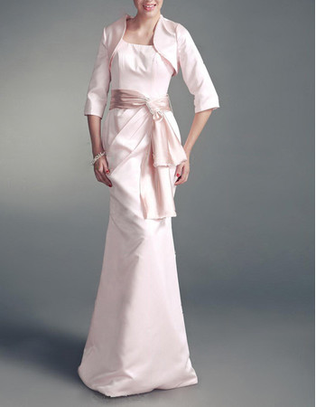 Mermaid/ Trumpet Square Floor Length Satin Mother Dress with Jackets