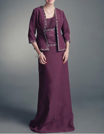 Cheap A-Line Straps Floor Length Chiffon Mother Dress with Jackets