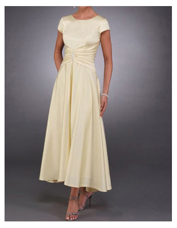 Modest Short Sleeves Ankle Length Satin Mother of the Bride/ Groom Dress
