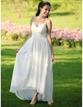 Casual Empire Spaghetti Straps Asymmetric Chiffon Dress for Spring Wedding