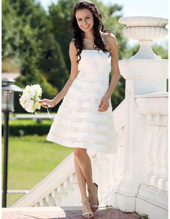 Casual A-Line Strapless Knee Length Summer Beach Wedding Dress
