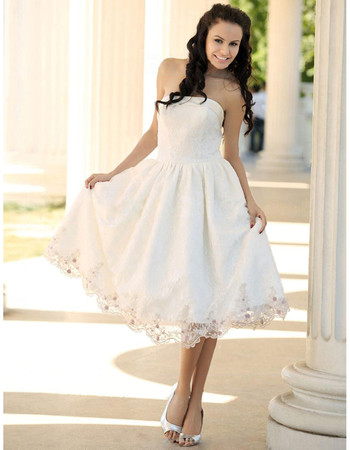 Custom Casual A-Line Strapless Satin Short Reception Wedding Dress