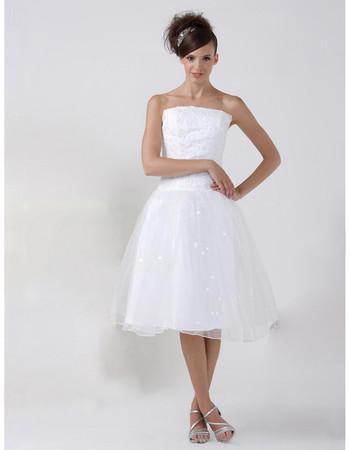 Casual A-Line Strapless Organza Short Reception Wedding Dress