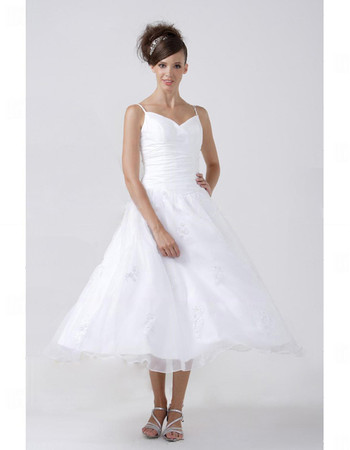 Designer A-Line Spaghetti Straps Tea Length Wedding Dress