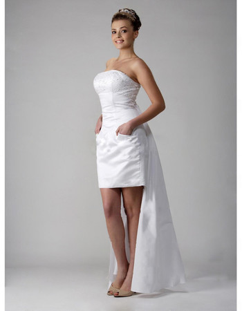 Custom Designer Column/ Sheath Strapless Short/ Mini Wedding Dress