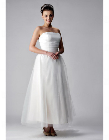 Custom Classic A-Line Strapless Tea Length Satin Organza Wedding Dress