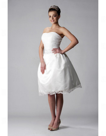 Discount A-Line Strapless Short Reception Wedding Dress